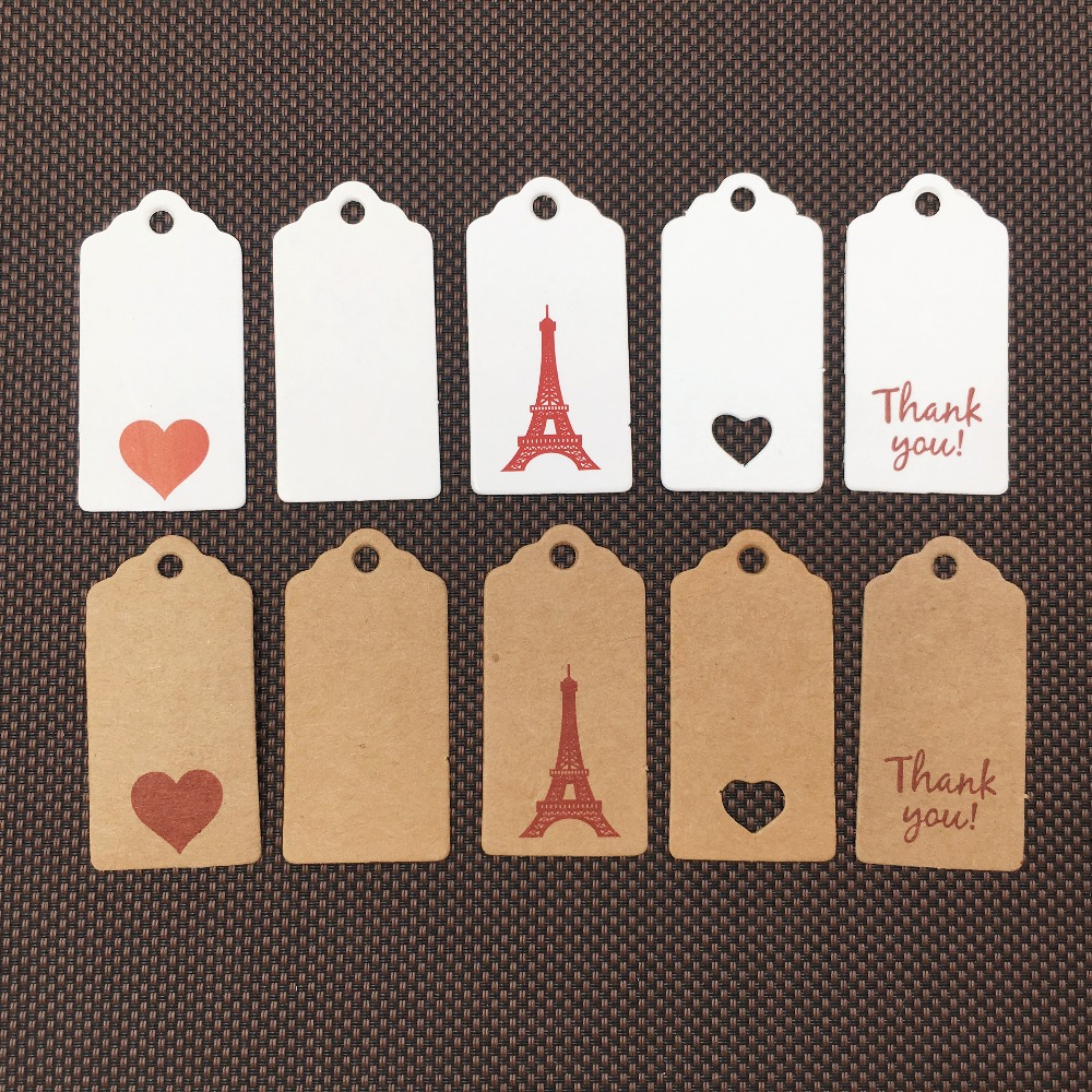 100pcs Craft Paper Tags Craft Gift Favour Lolly Wedding Party Bag Name Label G3