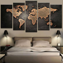 Paintings HD Abstract Canvas For Living Room Wall Art Poster 5 Pieces Retro World Map Decoration Pictures Modular Framed(China)