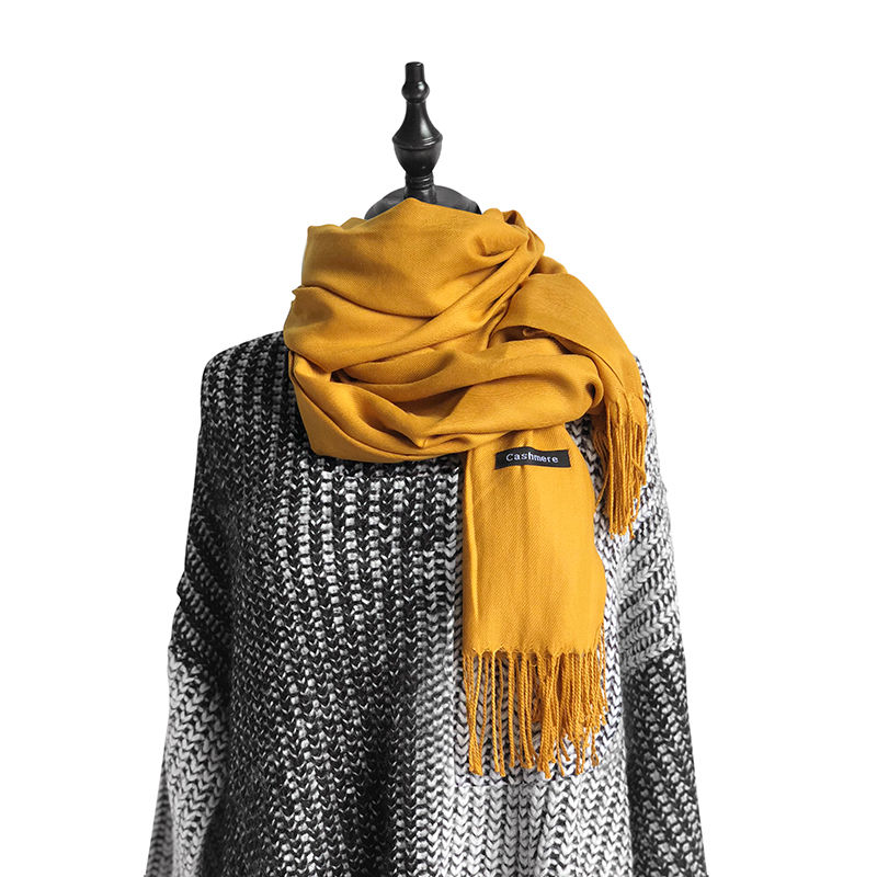 19 colors women   scarf   yellow thick solid shawls and   wraps   lady pashmina bandana female hijab winter long foulard head   scarves