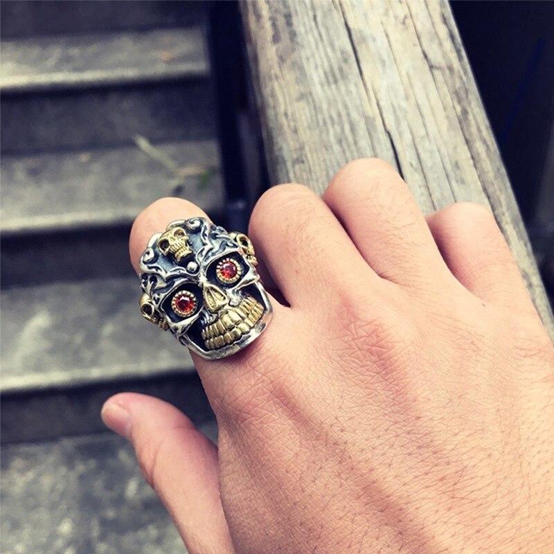 ZABRA 925 argent Sterling rouge zircon cubique yeux crâne anneau mâle or réglable anneaux pour hommes Punk gothique bijoux - 6