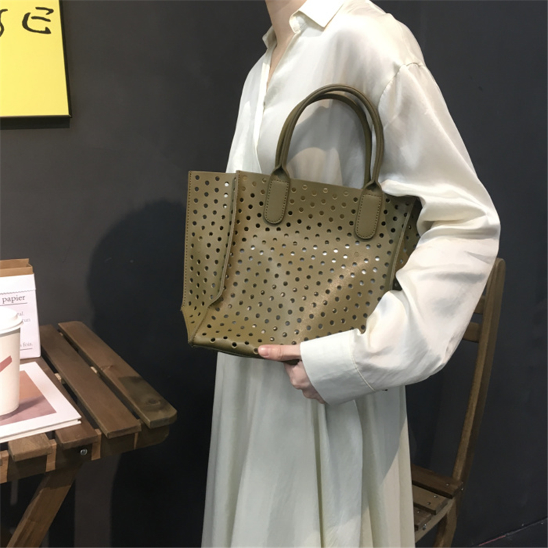 2019 new brand design women handbag Hollow Out PU leather tote bag for ladies larger capacity Beach bag 2pcs/set shopping bag2019 new brand design women handbag Hollow Out PU leather tote bag for ladies larger capacity Beach bag 2pcs/set shopping bag