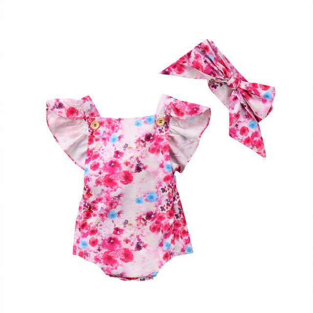 2018 Lovely Newborn Baby Girl Clothes Pink Floral Fly Sleeve Cotton