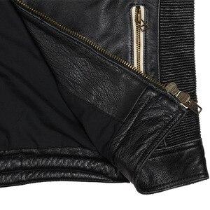 Image 5 - Maplesteed marca jaqueta de motocicleta do vintage crânio bordado 100% pele couro genuíno jaqueta moto casaco motociclista 086