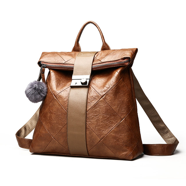 552a31f1bbb 2018 Fashion lock Women Leather Backpack New Hairball Women's Backpacks For  Girls Schoolbag Female Shoulder Bag Female Rucksack -in Backpacks from ...
