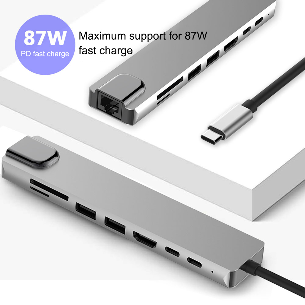 8-In-1 Type C Hub USB C To HDMI USB 3.0 Ports USB 2.0 Port SD/TF Card Reader USB-C Power Delivery For MacBook Pro 3.1 Splitter