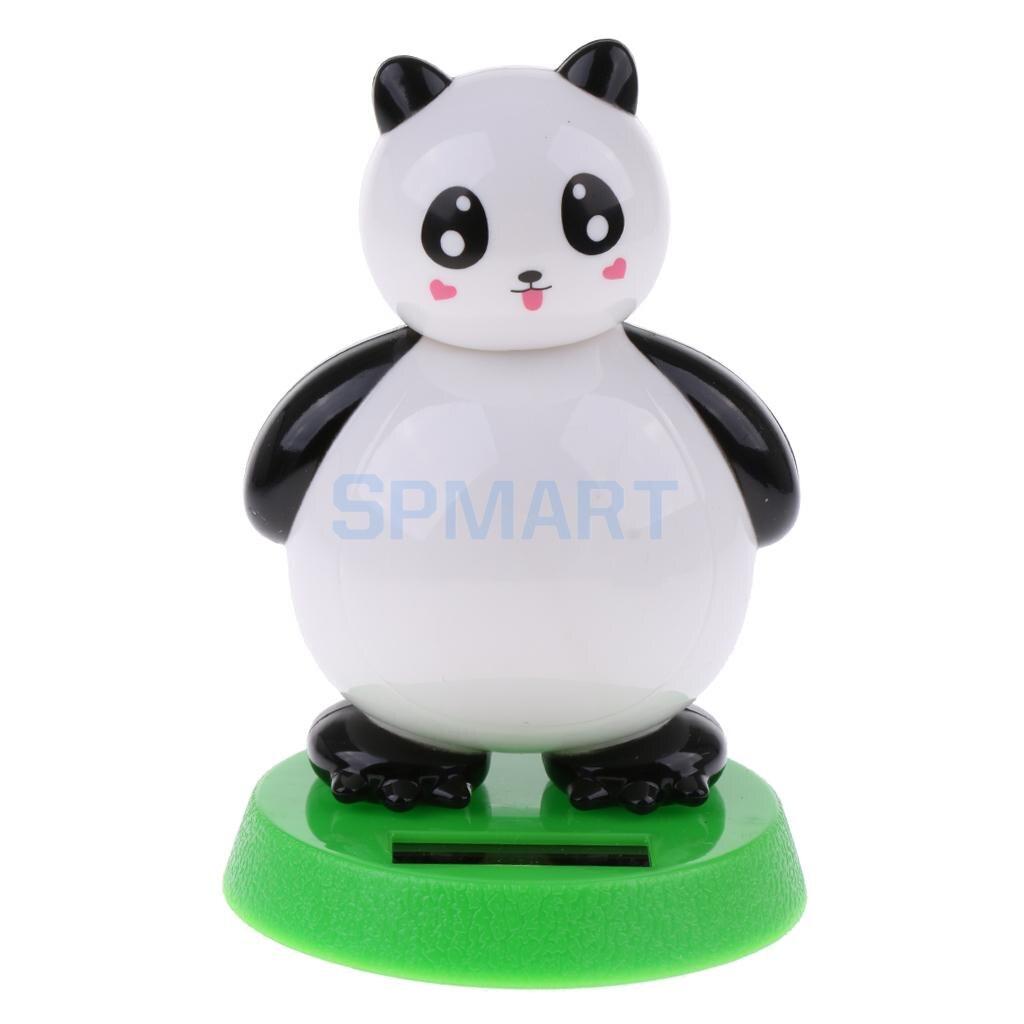 Kids Solar Powered Noding Panda Animal Doll Model Shaking Head Toy Car Home Ornament Decor Kids Xmas Gifts Gag Prank Toys