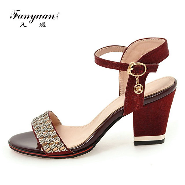 Fanyuan 2019 Women Shoes High Heel Bling Crystal Ladies Sandals Chunky Heel Female's Summer Footwear Mixed Colors Zapatos Mujer