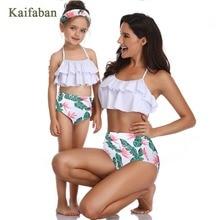 Девушка для женщин Kawaii повязку воланами разделение бикини купальный костюм мать и дочка юбка с оборками с завышенной талией Maillot танкини для купания костюм