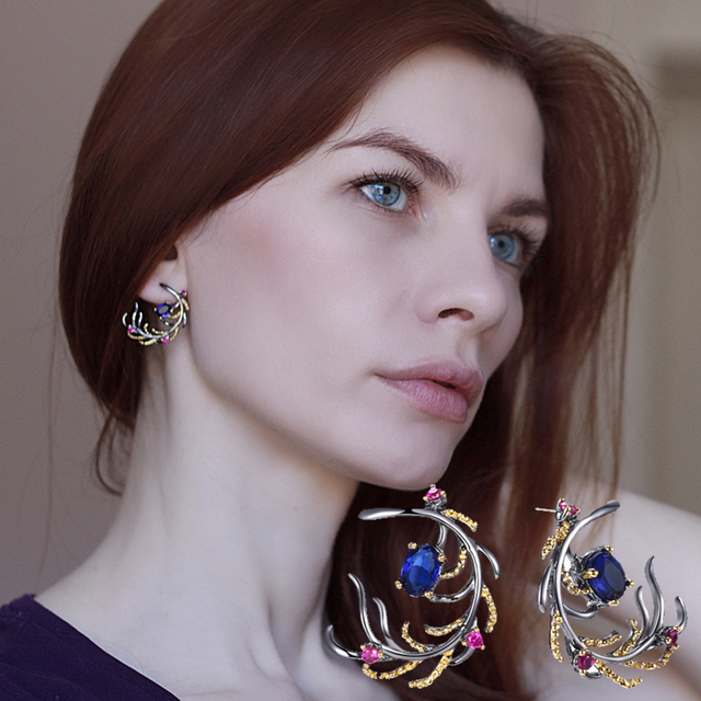 Charming Beautiful leaf earring Blue Rose color stones crystal CZ Black Gun Plated Jewelry & Accessories Bohemia big earrings