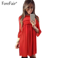 Forefair New Fashion Elegant Chiffon Dress Women Draped Ruffles Casual Loose Above Knee Dress Party Dresses