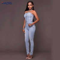 Summer Blue Long Denim Jumpsuit Bodysuit Sexy Female Playsuits Sleeveless Body Feminino Buttons Sexy Womens Bodysuits Workwear