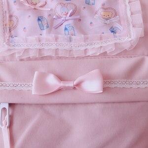 Image 2 - Original Japanischen Weichen Mädchen Rucksäcke Rosa Nette Spitze Bogen Taschen Kawaii Damen Nylon Rucksack Studenten Täglichen Mädchen Stil Zurück Pack