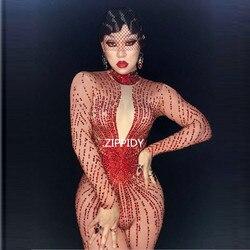 مشرقة الأحمر الراين مثير السروال القصير زي بلينغ بذلة المرأة الزي ارتداءها عيد ميلاد احتفال ارتداء المطربة ارتداء
