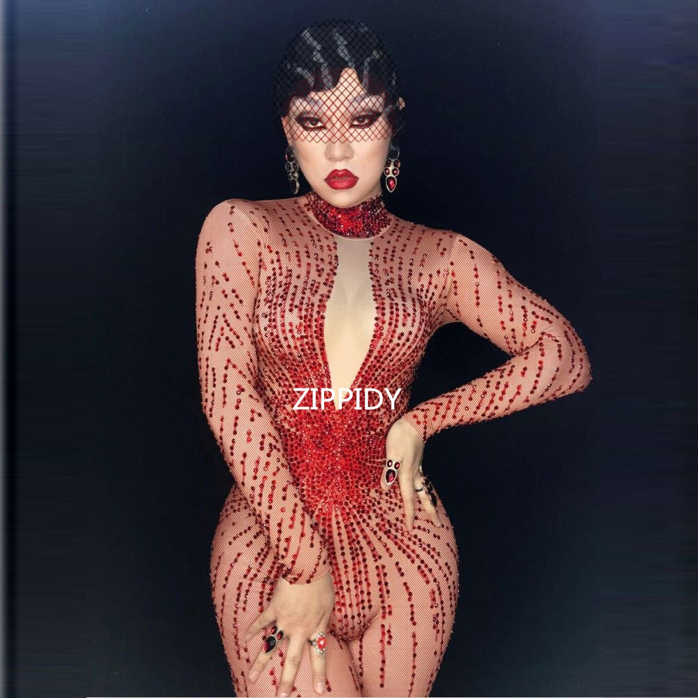 Rouge brillant Strass Sexy Barboteuses Costume Bling Combinaison femme Tenue Body Anniversaire Célébrer Porter Chanteuse Porter