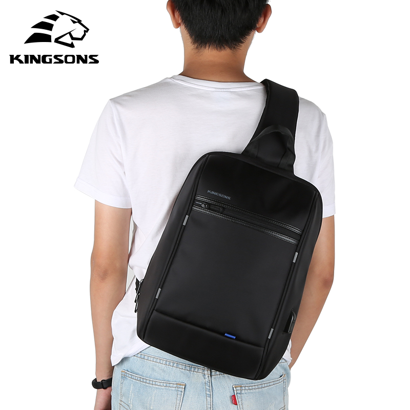 kingsons Anti Theft chest bag for men Waterproof Nylon Shoulder Bags Large Capacity Casual Men Travel USB Charging Crossbody Bag