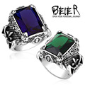 Beier new store 316L Stainless Steel ring top quality New Dark Blue Big Stone Ring For Man  Classic Punk Jewelry BR8-164