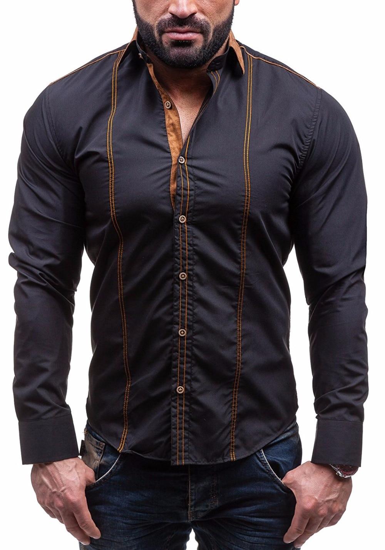 GMANCL Men's Slim Fit Dress shirt Male Long sleeves