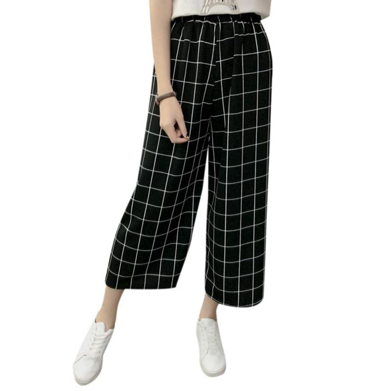 Summer   Wide     Leg     Pants   High Elastic Waist Harem   Pants   Loose Belt Striped Elasticated Trousers