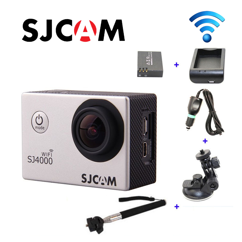 Original SJCAM SJ4000 WiFi HD 1080P 60FPS Sport DVR Car Charger Holder Extra 1pcs battery Battery