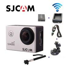 Original SJCAM SJ4000 WiFi HD 1080 P 60FPS Deporte DVR + Cargador de Coche + Soporte + Extra 1 unids batería + Cargador de batería + Monopie para la cámara DV