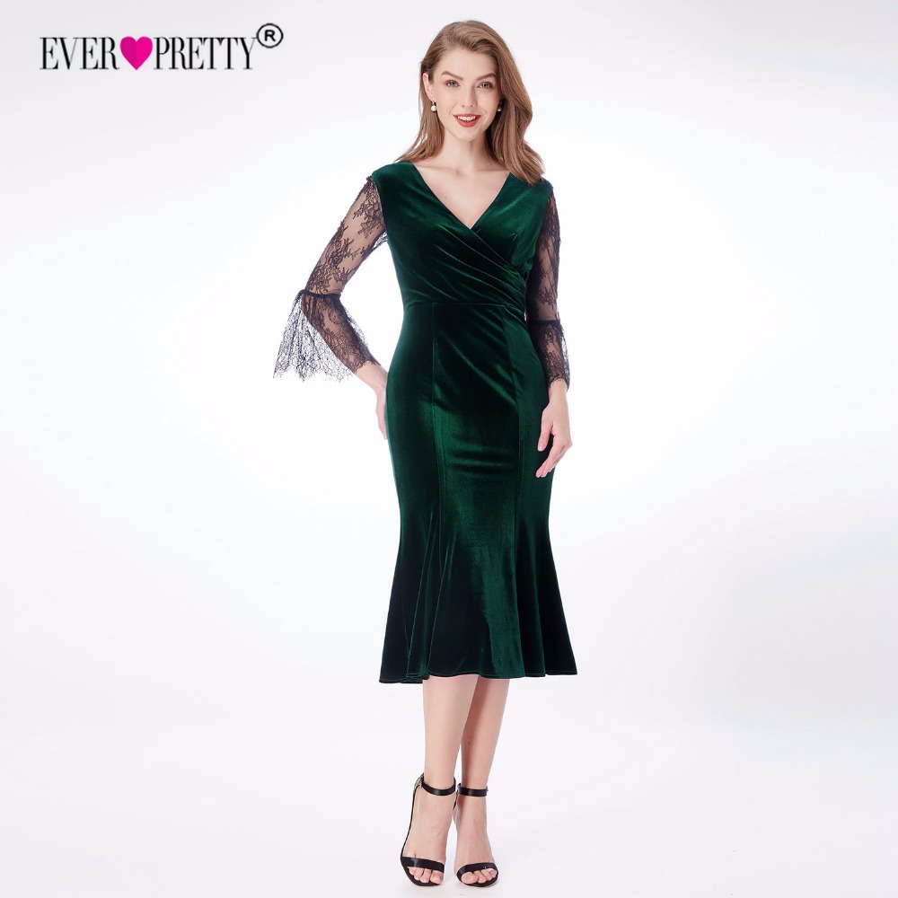 Velvet Evening Dresses Ever Pretty EP07301 Sexy Long V-neck High Stretch  3 4 Lace Sleeve Vintage Cheap Formal Dresses for Women 662c8dbfb