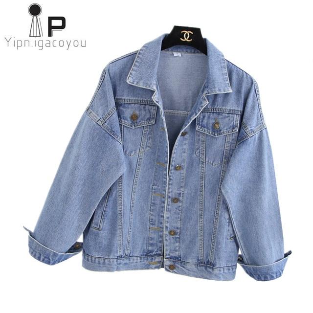 c4d3a4d53 Mulheres Casaco Curto Básico do vintage Jaqueta Jeans Estilo Coreano  Senhoras Primavera Calça Tamanho Grande Casacos Harajuku Casuais