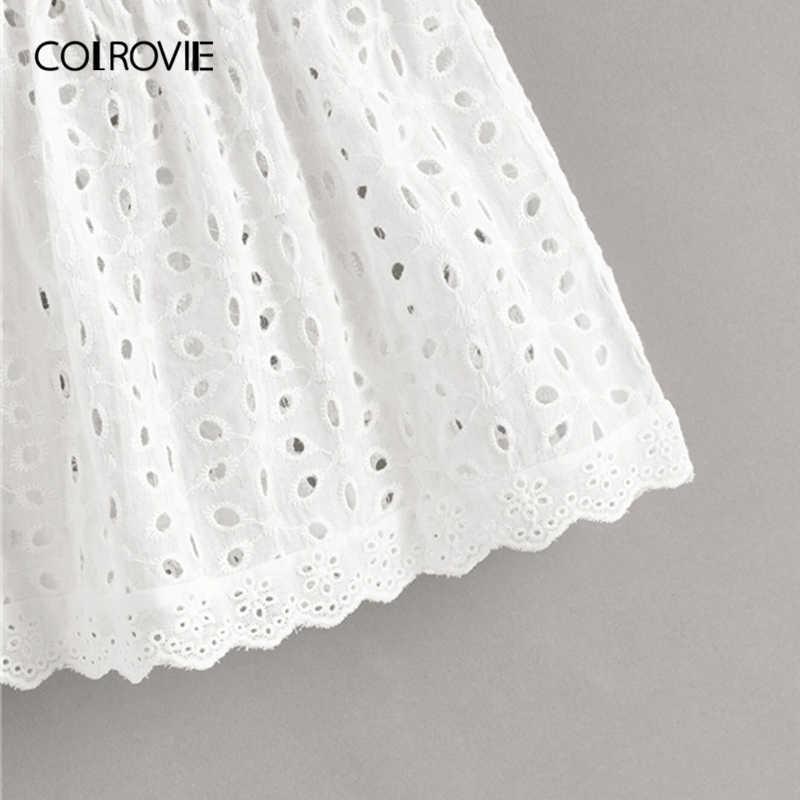 COLROVIE 白色固体 Schiffy フリル裾ディープ V ネック自由奔放に生きるトップ女性服 2019 夏韓国ガーリー Tシャツホリデーベスト