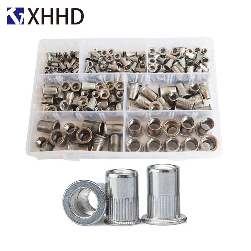 304Stainless Steel Flat Head Rivet Nut Metric Thread Nutsert Insert Nut RivetingSet Assortment Kit Box M3 M4 M5 M6 M8 M10 M12-in Nuts from Home Improvement