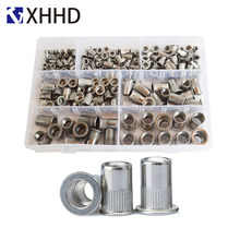 304Stainless Steel Flat Head Rivet Nut Metric Thread Nutsert Insert RivetingSet Assortment Kit Box M3 M4 M5 M6 M8 M10 M12