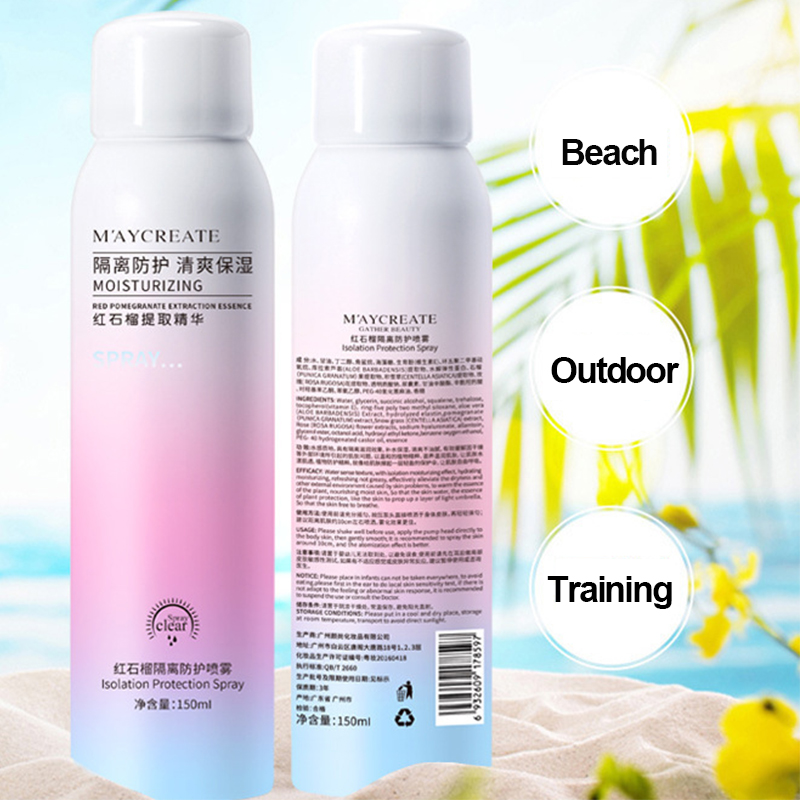 Whitening Red Pomegranate Essence Sunscreen Spray Waterproof Body Neck Moisturizing Hydrating Anti UV Protection