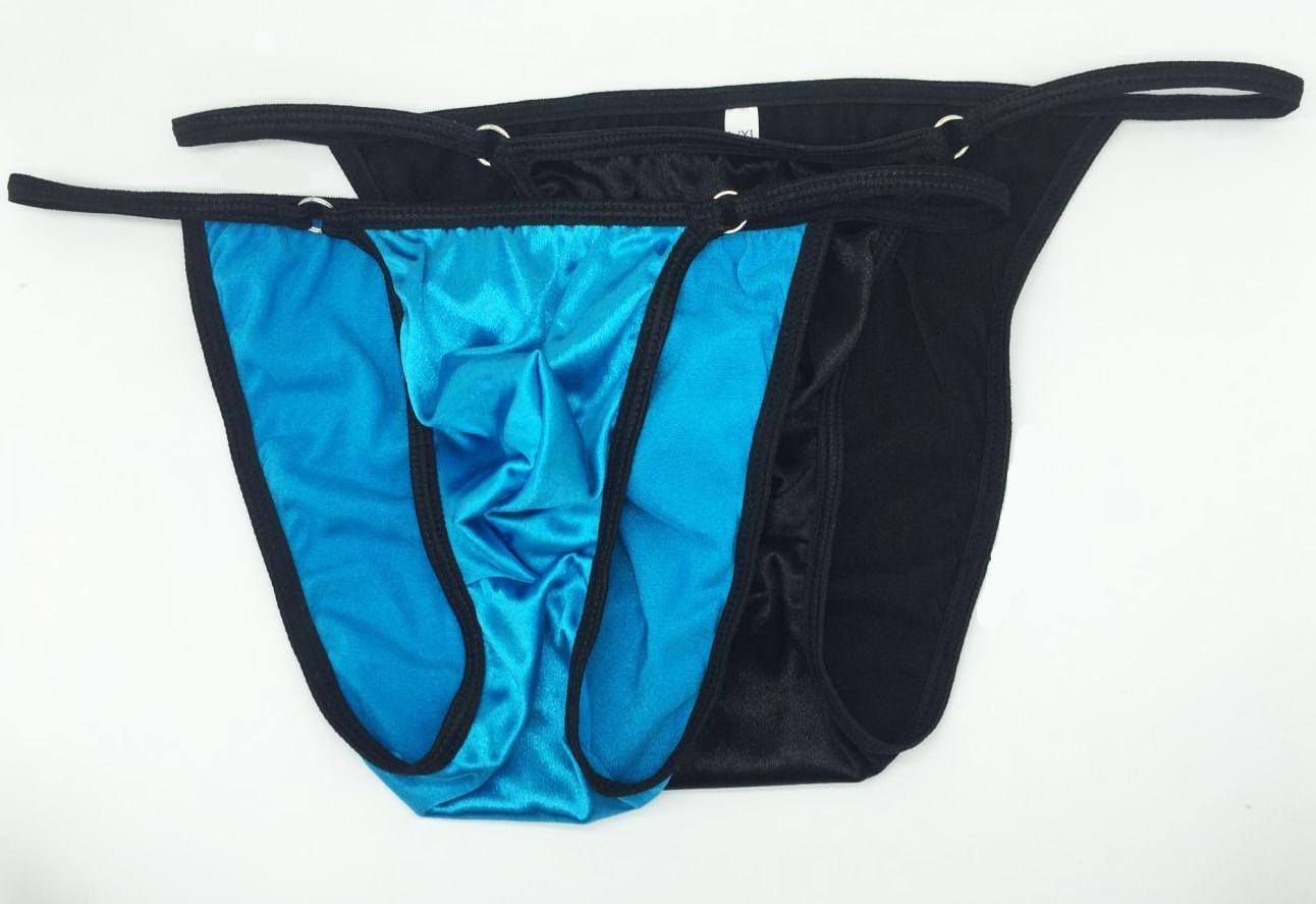 Sexy Sissy  Men's Underwear Bikini Bulge Pouch Moderate Back Shiny Satin Knit Low Rise Stretchy Smooth Underwear Men