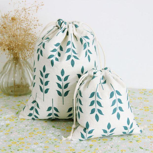ჱ2 unids/lote Mini bolsa de almacenamiento de algodón de lino con ...