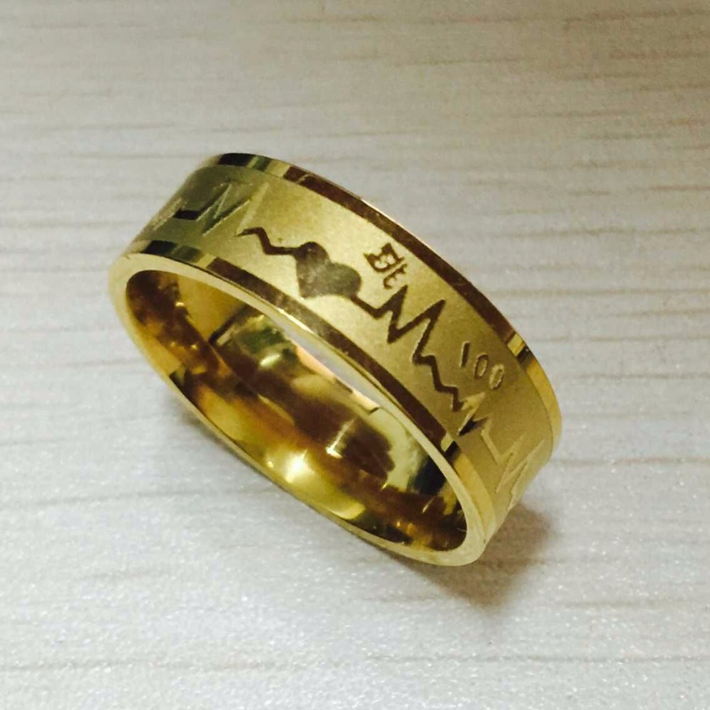 Fashion 8mm falling in love Rings gold color 316L Titanium Steel ...