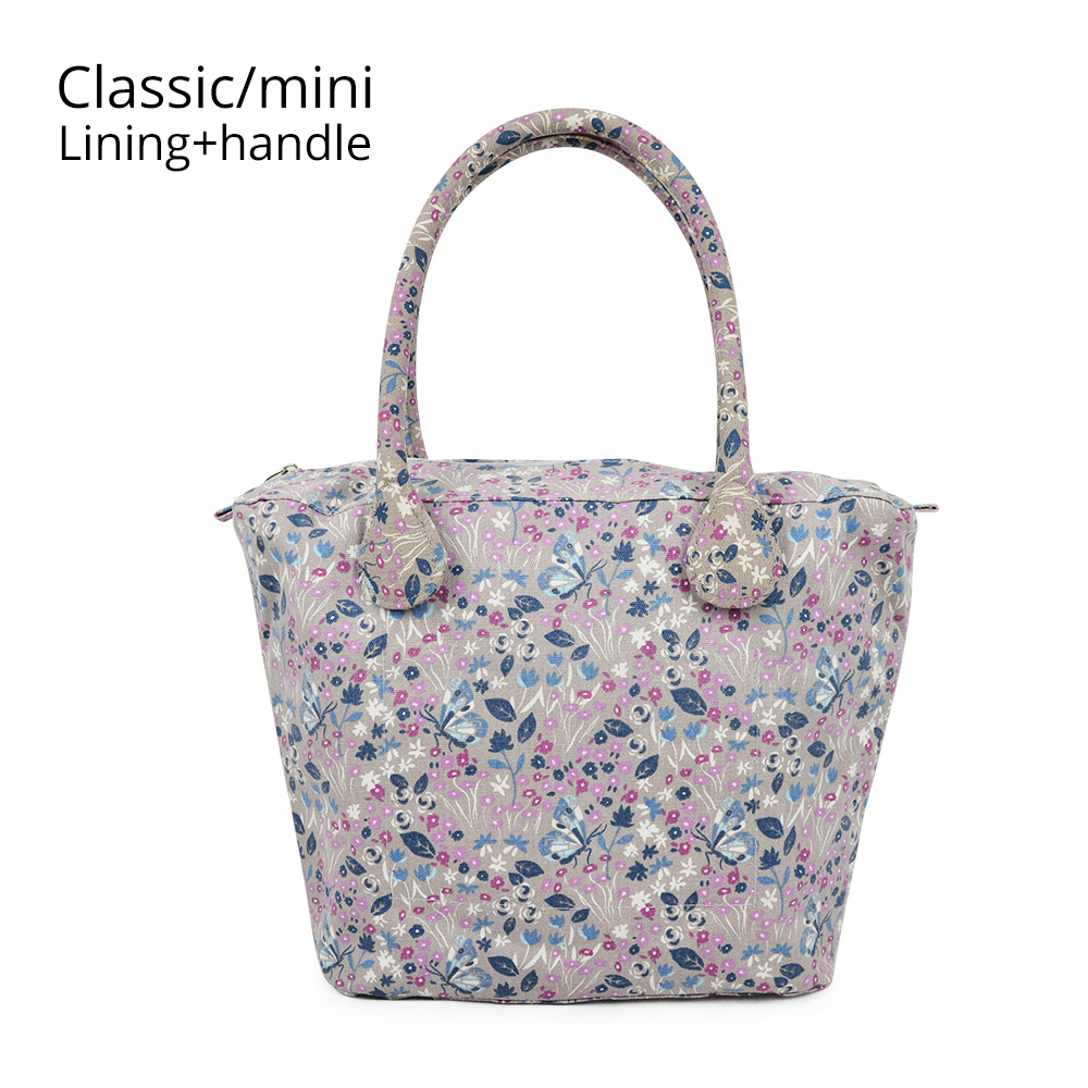 Canvas Fabric Short Long Round Flora Handle Small Big Insert Lining For Obag Classic Mini O Bag Women's Bags Shoulder Handbag
