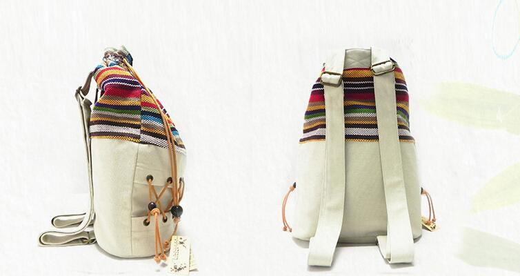 Original  ethnic canvas sack pack lady cotton printed colorful backpack teenage straw string  follow out  strip bag