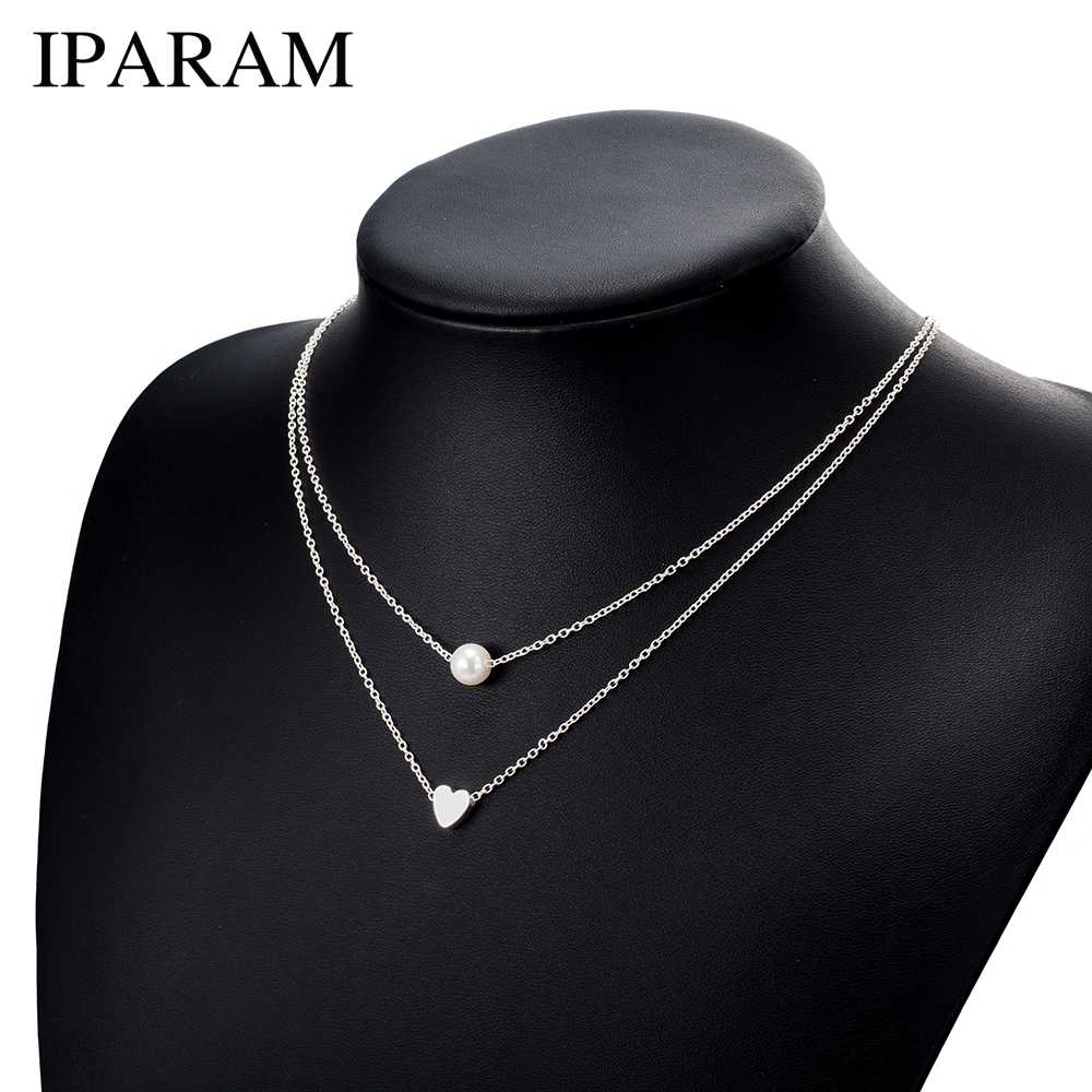 IPARAM Bohemia Simple fashion Imitation pearl love Heart Double layer Clavicle chain necklace accessories female Jewelry New