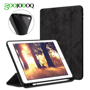 GOOJODOQ Premium PU Leather TPU Soft Cover For iPad Pro 12.9 Case with Pencil Holder