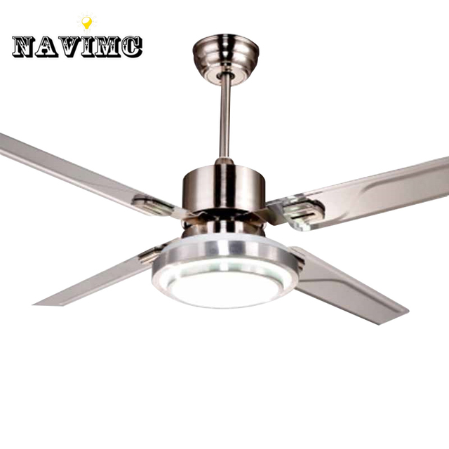 Remote Control Ceiling Fans With Lights Modern Led Fashion Stainless Steel Wing Fan For