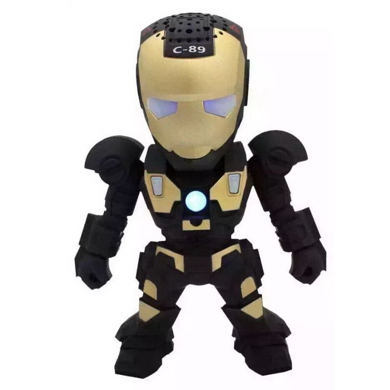 MKUYT C-89 Bluetooth Speaker with LED Flash Light Deformed Arm Figure Robot Portable Mini Wireless Subwoofers TF FM USB Card