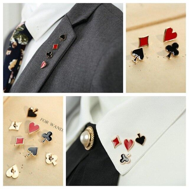 I-Remiel популярные маленькие покерные запонки булавки и броши для женщин для мужчин цинковый сплав Брош брошь блуза под деловой костюм воротник аксессуары