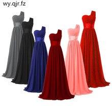 LLY6818BL # Chiffon Dark Blau Rot Brautjungfer Kleider One schulter Lange Braut Hochzeit Toast Kleid Mädchen Nach Freies großhandel
