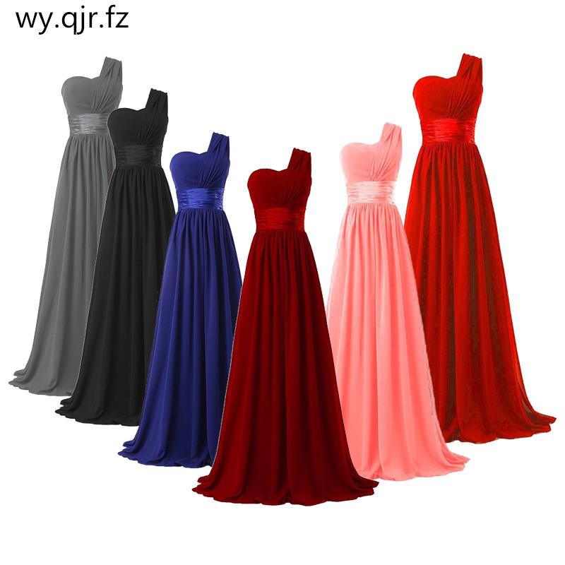 QNZL 70#Chiffon Dark Blue Red Bridesmaid Dresses One shoulder Long Bride Wedding Party Toast Dress Girls Custom Free Wholesale