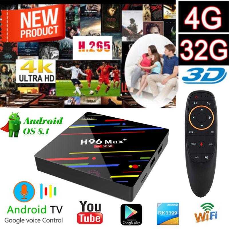 H96 MAX Plus Smart Android 8,1 caja de TV RK3328 Quad Core 4 GB RAM 32 GB ROM Wifi reproductor de medios H.265 youtube googleplay Set-Top Box