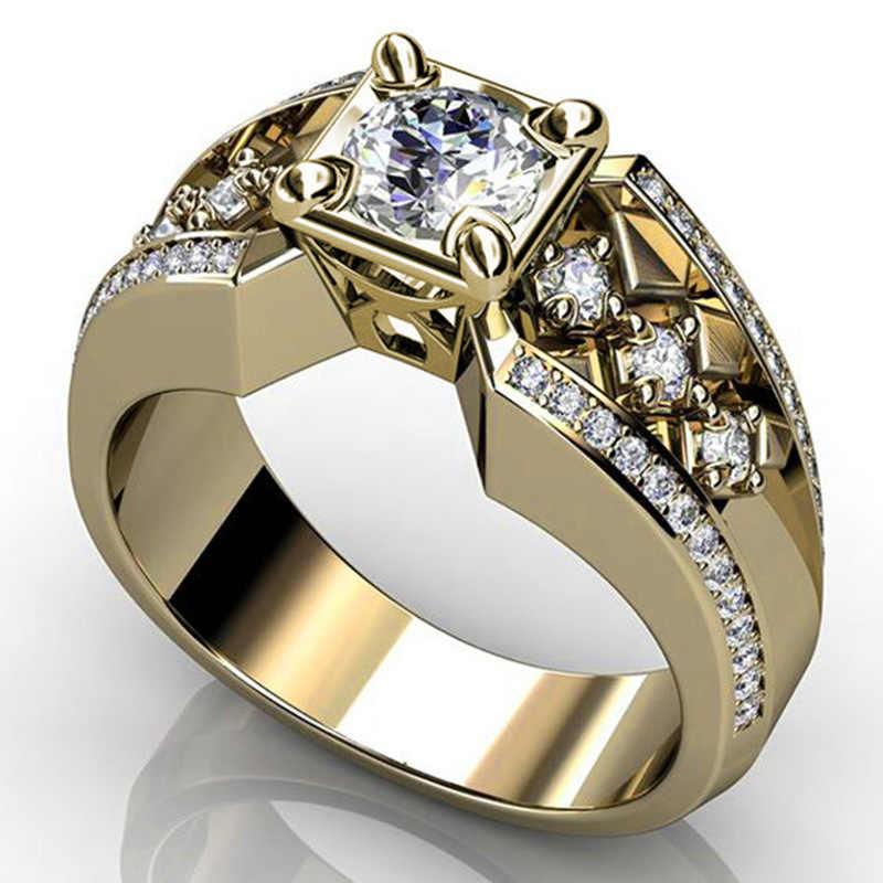 Luxury ชายหญิง Blue Zircon แหวนหิน Vintage สีเหลืองทองงานแต่งงานเครื่องประดับสัญญาหมั้นแหวนผู้ชายและผู้หญิง