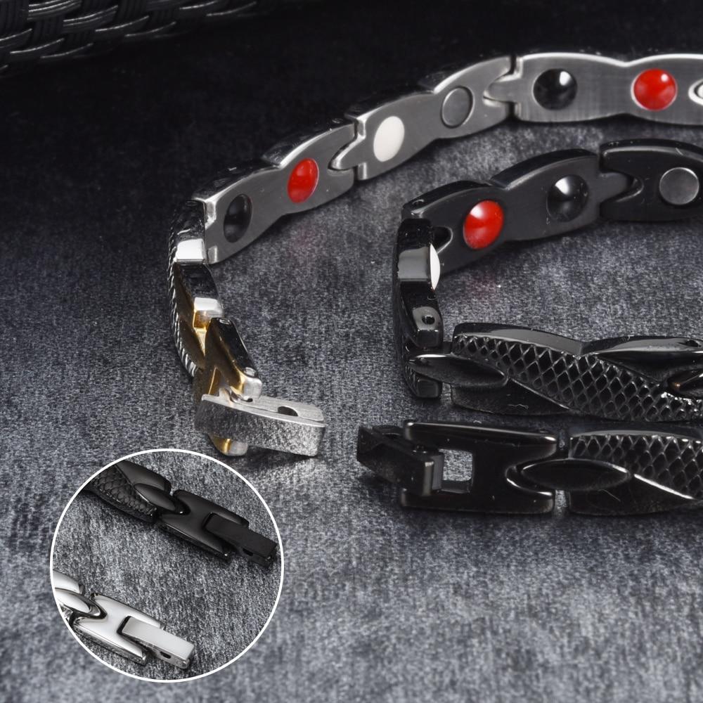Vinterly Health Energy Bracelet Male Cross Stainless Steel Magnetic Bracelet Men Gold-color Chain Link Bracelet for Men Jewelry