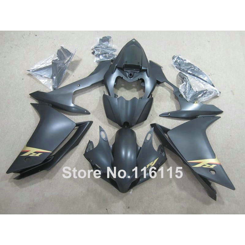 Injection molding customize fairing kit for YAMAHA YZF R1 2007 2008 YZF-R1 07 08 all matte black bodywork fairings set QZ64 injection molding bodywork fairings set for yamaha r6 2008 2014 orange black full fairing kit yzf r6 08 09 14 zb80