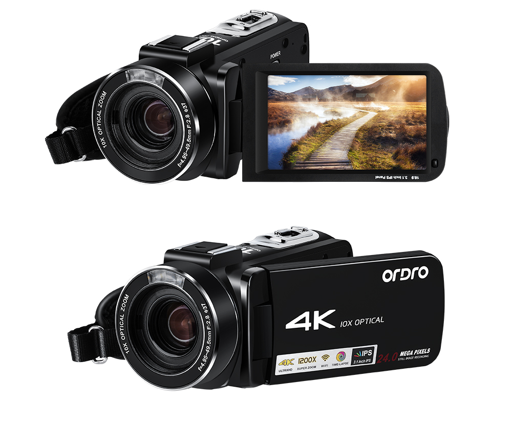 Ordro AC7 4K UHD Digital Video Cameras Camcorders FHD 24MP WiFi IPS Touch screen 100X Digtal Zoom 12X Optical 1200x Super Zoom DV Mini Camcorders (16)