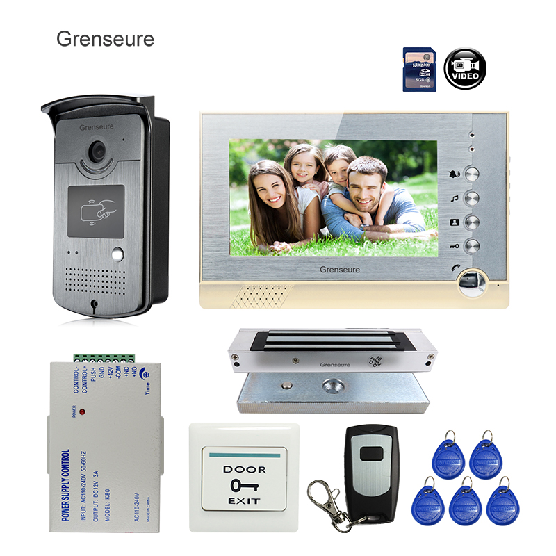 FREE SHIPPING BRAND 7 Home Color Recording Screen Video Door phone Intercom + RFID Card Reader Door Camera + EM Lock WHOLESALE free shipping brand new 7 home video intercom door phone system with recording monitor rfid card reader door camera wholesale