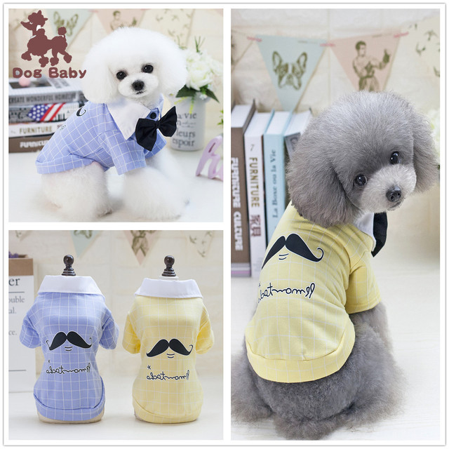 6fff8afc White Collar Black Bow Tie Dog Vests Spring Pet Clothes T-shirt Dogs Summer  Teddy Printed Shirt Jersey Puppy Clothing Apparel