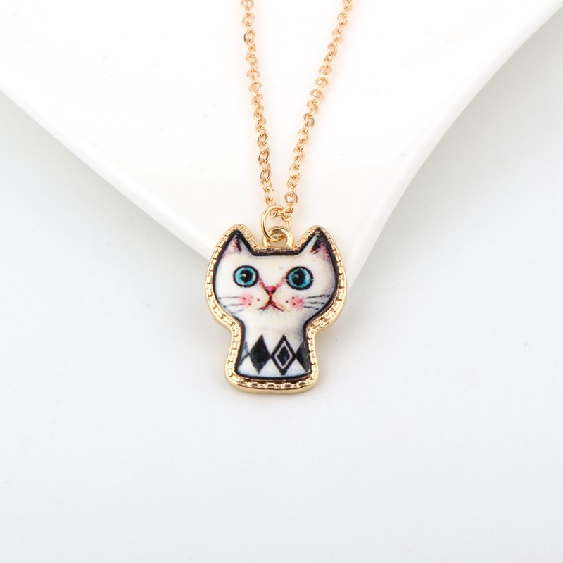 1PC Cute Cartoon Cat Animal Link Chain Necklace Gold Color Enamel Chains Necklaces For Women Jewelry For Child Christmas Gift 2